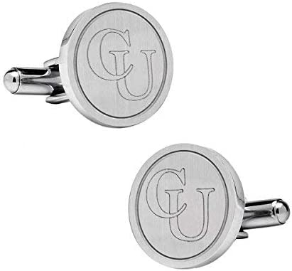 Natural Finish Sterling Silver Round Top Cufflinks College Jewelry Campbell University Fighting Camels Cufflinks