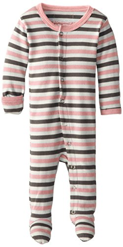 L'ovedbaby Unisex-Baby Organic Cotton Footed Overall, Coral Stripe 0-3 Months