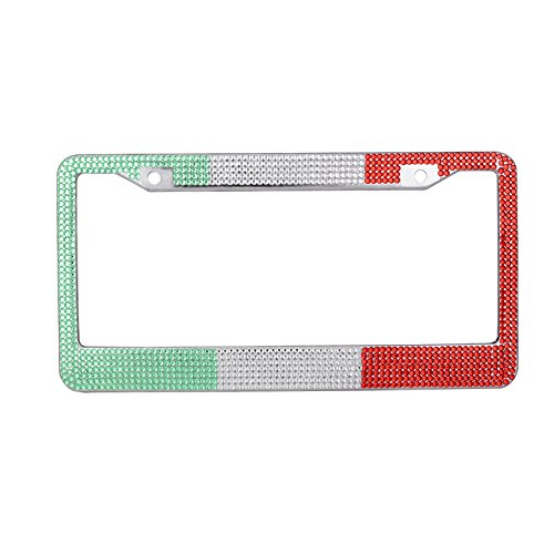 Frame Cover Aluminum Diamond Plate - Hensonata Bling License Plate Cover Italy Flag Stainless Steel Unique Design Rhinestones Car Plate Frame Colorful with Mounting Hardware (Screw and Crystal Screw Caps)