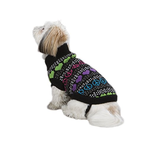 East Side Collection 8-Inch Acrylic Warm Hearts Print Dog Sweater, XX-Small, Black