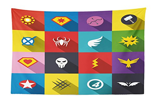 Lunarable Superhero Tapestry, Retro Superhero Design Patchwork Style Several Logo Signs Comic Humor Artwork, Fabric Wall Hanging Decor for Bedroom Living Room Dorm, 45 W X 30 L inches, Multicolor ()