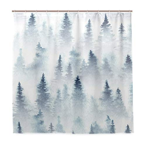 ZOMOY Decoration Shower Curtain Shower Seamless Pattern Watercolor Spruce Forest Fog Bath Curtains Waterproof Fabric Bathroom Decor Set with Hooks 72X72inch