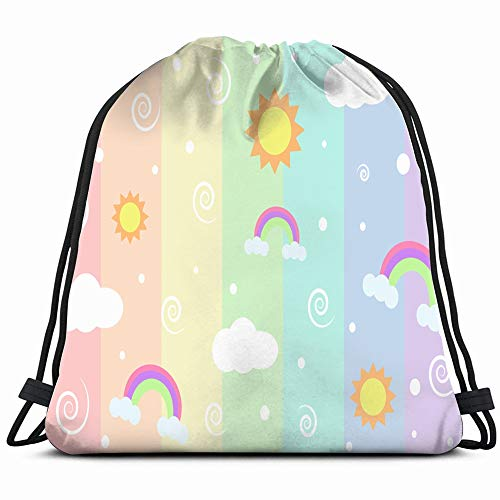 Rainbow Colors Suns Background Drawstring Backpack Bag Sackpack Gym Sack Sport Beach Daypack For Girls Men & Women Teen Dance Bag Cycling Hiking Team Training