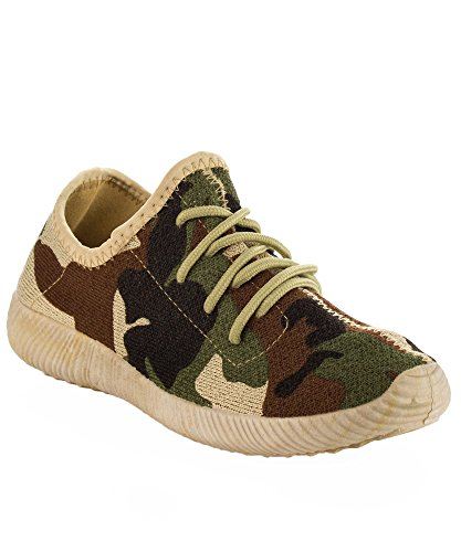 Qupid Women's Fashion Light Weight Low Top Lace Up Knit Slip On Sneaker KHAKI CAMO (7)
