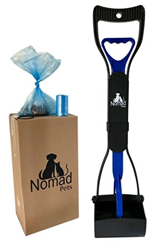 Nomad Pets Pooper Scooper Set Dogs Blue Poop Bags - Perfect Small, Medium, Large, XL Pets - Best Long Handle Scoop - Portable Heavy Duty Jaw Claw Bin - Great in Grass