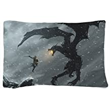Microfiber Peach Standard Soft And Silky Decorative Pillow Case (20 * 26 Inch) - Nature Snow Snow Dragons Fantasy Art Warriors The Elder Scrolls V Skyrim Nature Snow