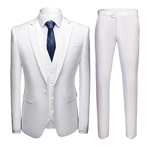 (MY'S Men's Suit Slim Fit One Button 3-Piece Suit Blazer Dress Business Wedding Party Jacket Vest & Pants White)