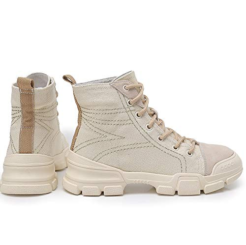 Stiefel Tooling Stiefel Casual Shoes Outdoor Koreanische Studenten Boots Leder Booties Damen Fashion Stiefel LIANGXIE Martens Stiefeletten Damen Toe Khaki High Damen 5qWxOv