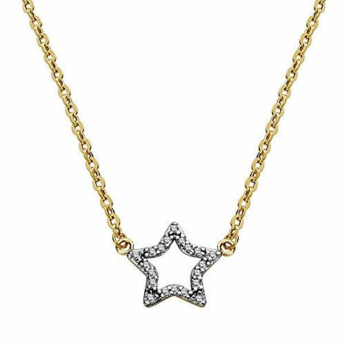 Pendentif étoile d'or 18k avec la chaîne 45cm bicolor. [AA1838]