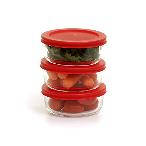 - Zanzer 3-Piece Round Glass 12oz Food Storage Container, Easy to Open Airtight Locking Lid Stackable Design | Reusable Transparent BPA Free Lunch Box | Microwave, Oven, Freezer, Dishwasher safe - Keeps
