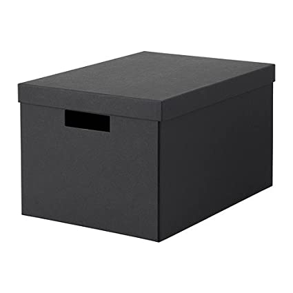 Superieur IKEA Tjena Storage Box With Lid Black 303.954.77 Size 9 ¾x13 ¾x7 ¾