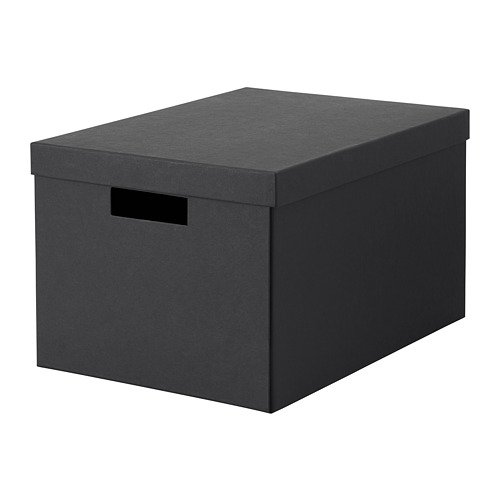 IKEA Tjena Storage Box With Lid Black 303.954.77 Size 9 ¾x13 ¾x7 ¾ (Tjena Storage Box)