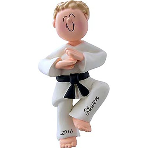 Karate Boy Personalized Christmas Ornament Blonde Hair