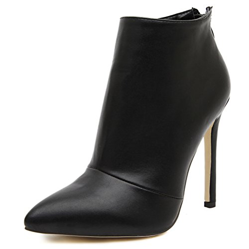 High Heel Ankle Boots - MMJULY Women's Pointed Toe Zip Up Stiletto High Heels Dress Ankle Booties Black PU US 7
