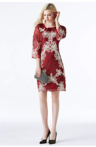(Women Luxury Style 1920s Flapper Great Gatsby Vintage Dress 3/4 Sleeve Floral Embellished Party Fashion Dinner Party Dresses (M, Red))