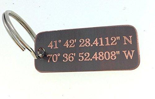 Coordinate Keychain - Antique Copper Personalized - Engraved - 10 Year Anniversary - Boyfriend Gift -