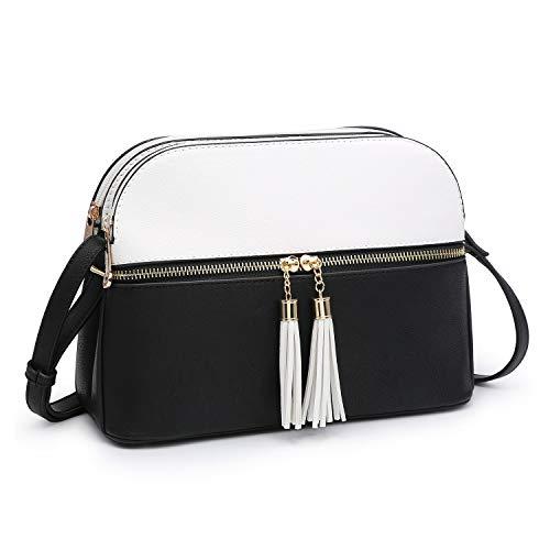 Bag Black Collection - Functional Multi Pockets Lightweight Medium Crossbody Bags Purses for Women Double Zipper Shoulder Messenger Bag with Tassel (White/Black)