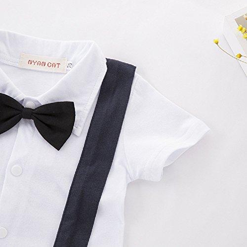 Hooyi Baby Boy Short Tuxedo Rompers Gentleman Black Tie False Straps Jumpsuits