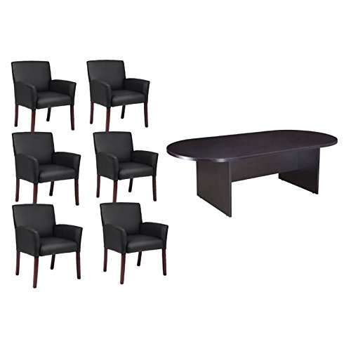 7 Piece Office Conference Set with Conference Table and Set of 6 Office Chair