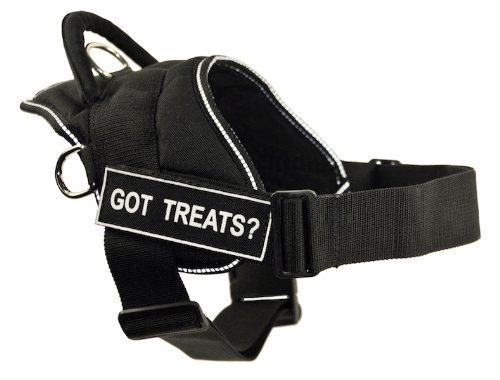 Dean & Tyler Fun Harness, Got Treats, Black with Reflective Trim, XX-Small, Fits Girth Size  18-Inch to 22-Inch