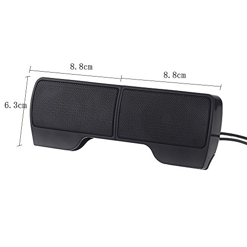 SUPVIN Portable Mini Clip-On USB Powered Stereo Multimedia Speaker Soundbar for Notebook Laptop PC Desktop Tablet Black by SUPVIN (Image #1)