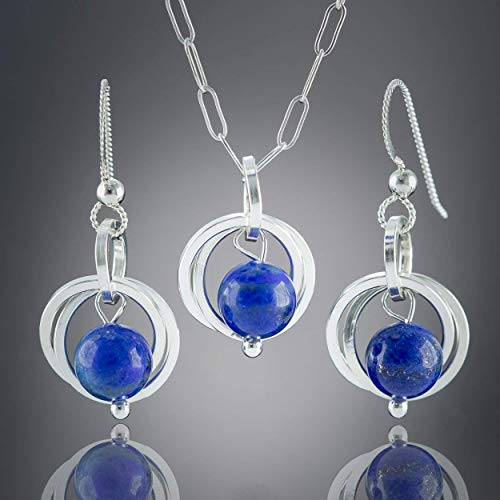 (Blue Lapis Lazuli Gemstone Silver Jewelry Gift Set with Dangle Earrings and Pendant Necklace - 20