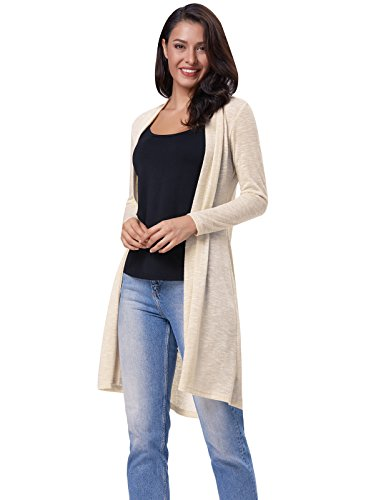 Solid Color Long Sleeve Knee Length Cardigan Sweater Size S Ivory (Knee Length Sweater)