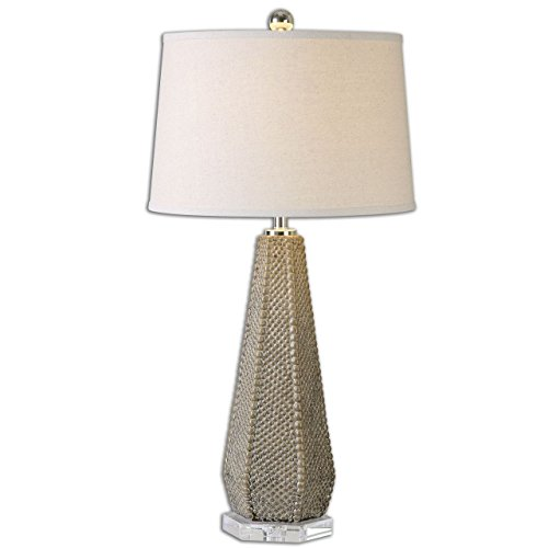 Beaded Ceramic Column Table Lamp | Textured Taupe Pottery