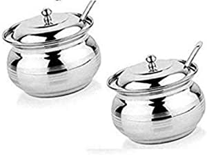 Stainless Steel 2 PCs Oil Butter /& Ghee Storage Pot 9 cm dia Hand Painted 200 ml