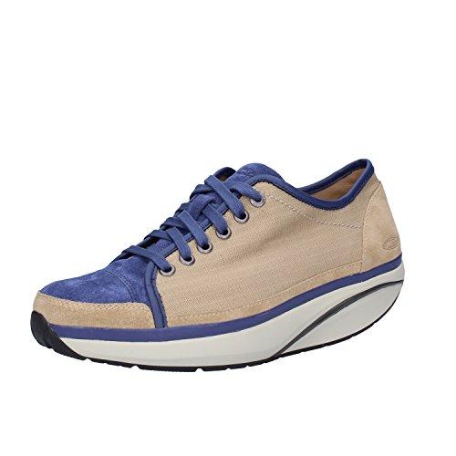 MBT Sneakers Mujer Textil Gamuza (38 EU, Beige/Azul)