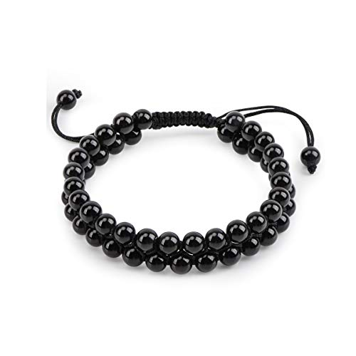 - ELEMEN Genuine Stone Beads Bracelet - Natural Stone Prayer Mala Beads Black Obsidian Beaded Bracelet Adjustable 6mm Couples