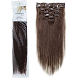 "Emosa 7Pcs 70g 100% Real Silky Soft Remy Human Hair Clip In Extensions 22"" #4 Medium Brown"