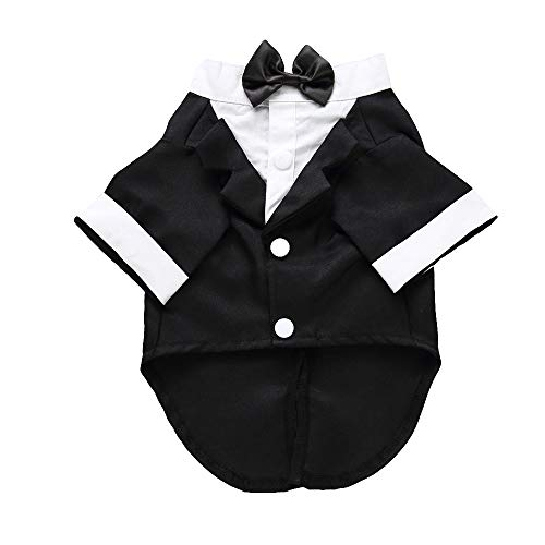 (Brave669 Stylish Pet Clothes Puppy Dog Shirt Bow Tie Formal Tuxedo Wedding Party Costume Black M)