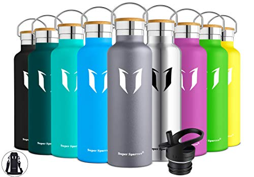 (Super Sparrow Stainless Steel Vacuum Insulated Water Bottle, Double Wall Design,Standard Mouth - 500ml & 750ml - BPA Free - with 2 Exchangeable Caps + Bottle Pouch (Grey,)