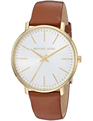 Michael Kors Women's Stainless Steel Quartz Watch with Leather Calfskin Strap, Brown, 18 (Model: MK2740