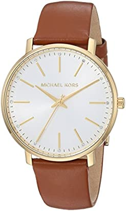 Michael Kors Women's Stainless Steel Quartz Watch with Leather Calfskin Strap, Brown, 18 (Model: MK2740)