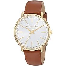 Michael Kors Women's Stainless Steel Quartz Watch with Leather Calfskin Strap, Brown, 18 (Model: MK2740