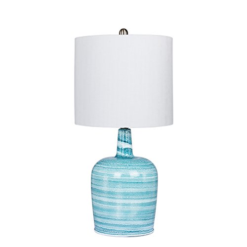 Cory Martin W-5148BLU Fangio Lighting's Bedrock Striped Jug Glass Table Lamp, 27