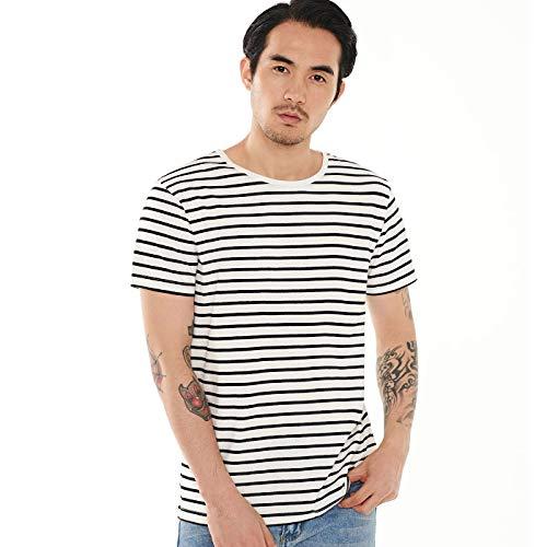 Zbrandy Striped T Shirt for Men Sailor Tee Breton Stripe Top Vintage Black White L