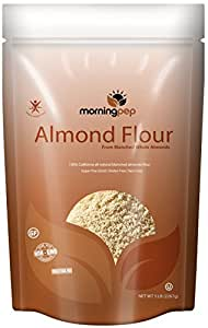 Morning Pep 2 Lbs 100 % All Natural Blanched ALMOND MEAL FLOUR Finely Ground - Gluten Free - Cholesterol Free. Product of USA 32 Oz NEW LOOK Resealable Stand Up Pouch Bag (packaging may vary)