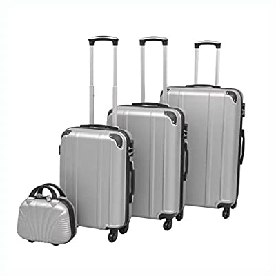 HomyDelight Suitcase, 4 Piece Hardcase Trolley Set Silver