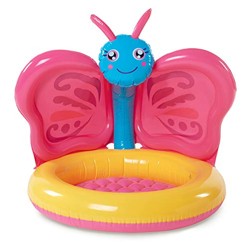 Summer Waves Baby Inflatable Pool! Comfortable Soft Cushioned Based with Sun Canopy to Protect Baby Skin! Perfect Baby Pool for Babies Summer Fun! Choose Your Adorable Design! (Butterfly)