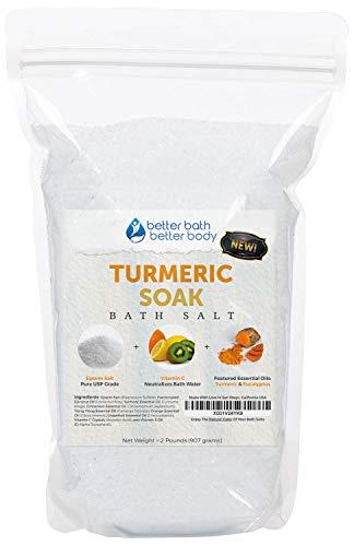 NEW Turmeric Bath Salt 32oz (2-Lbs) Epsom Salt With Turmeric, Cinnamon, Ylang Ylang, Orange, and Grapefruit Essential Oils PLUS Vitamin C Crystals - Enjoy The Healing Benefits Of Turmeric In Your Bath