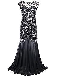 Women's Black Sequin Long Evening Dress