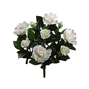 17″ Gardenia Bush x9 w/7 Flw. 2 Buds. 72 Lvs. Cream White (Pack of 6)