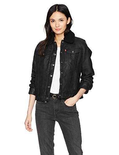 Synthétique Noir Levi's Cuir Femme Faux Sherpa En Veste Jacket Leather Classic Lined Trucker wBqS7Pw