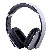 August EP650-Bluetooth Wireless Stereo Headphones–Over Ear Headphones with 3.5mm Wired Audio In-Leather Cushioned-Rechargeable Battery-NFC Tap To Connect and built-in Microphone-Compatible with Mobile Phones, iPad, Laptops, Tablets etc. (Silver)