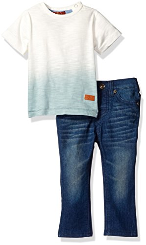 by Boys' 2 Piece Two-Tone Tee and Jean Set, Slate, 24M (Beige Slate)