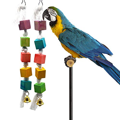 Calmson Bird Chewing Toy Parrot Cage Bite Toys Gnawed Wood String Toy - Bird Cage Accessories -