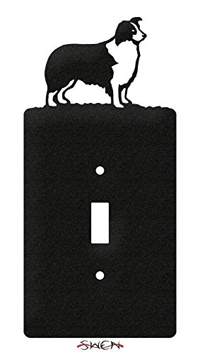 (SWEN Products BORDER COLLIE Metal Wall Plate Cover)